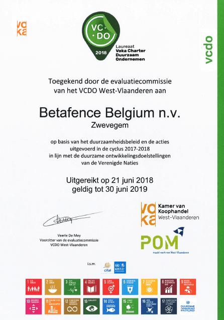 Duurzaam ondernemen certificaat 2018-2019