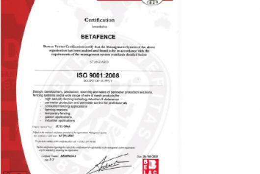 Betafence Certyfikat ISO